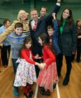 Galway West Fianna Fail candidate Eamon Ó Cuiv celebrates after his election with his wife Aine, their children Eamon Óg and Eimear, and grandchildren Aine, Mairead Eamon and Sean.