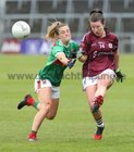Galway v Mayo 2019 TG4 Connacht Ladies Senior Football Final replay at the LIT Gaelic Grounds, Limerick.<br /> Roisín Leonard, Galway, and Danielle Caldwell, Mayo