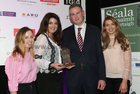 Aghna Ní Chunaigh, Loretta Ní Ghabháin and Caitlín Nic Aoidh of Lorg Media, (Winner of the 'Services' category sponsored by Snap Galway), with Seán Kyne TD, Aire Stáit sa Roinn Ealaíon, Oidhreachta, Gnóthaí Réigiúnacha, Tuaithe agus Gaeltachta,  at the Gradam Sheosaimh Uí Ógartaigh 2017 awards ceremony which took place in the Salthill Hotel, Gaillimh.