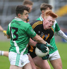 Moycullen v Mountbellew-Moylough Senior Football Championship final at Pearse Stadium.<br /> Shane Moran, Mountbellew-Moylough and Deasún Ó Conghaile, Moycullen