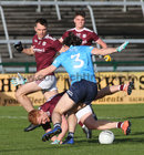 Galway v Dublin Allianz Football League Division 1 Round 7 game at Pearse Stadium.<br /> Galway's Adrian Varley and Liam Silke and Dublin's David Byrne