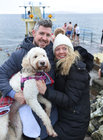Tomas and Michelle Treacy from Claregalway with their goldendoodle Bonnie at Blackrock on Christmas Day.