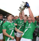Gearóid Breadseach and team mates celebrate with the cup after Moycullen won the Senior Football Championship final at Pearse Stadium last Sunday.<br />