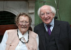 To Mark Eileen Molloy's 100th birthday a mass was celebrated at St Joseph's Church in the city last Saturday. President Michael D Higgins joined with Eileens family, relatives, neighbours and friends at the service. President Higgins is pictured with Eileen after the mass. To mark her birthday Eileen, who comes from Camus and now lives in Davis Road in Shantalla, was treated to a surprise street party organised by her family and neighbours.