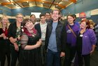 SocDems Owen Hanley celebrates his election in Galway City East with Galway City Central candidate Sharon Nolan and supporters at the Westside count centre.