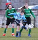 Salthill Devon B v Colemanstown United Under 12 Girls Division 1 Cup final at Eamonn Deacy Park.<br /> Anna Conway, Salthill Devon, and Blaithin Keane and Anna Barrett, Colemanstown