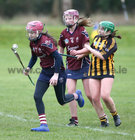 Presentation College, Athenry, v Loreto Secondary School, Kilkenny, Tesco All-Ireland Post Primary Junior A Camogie Final in Banagher.<br /> Presentation College, Athenry, goalkeeper Laura Freeney, and Ellen Burke, and Moya O'Brien, Loreto Secondary School, Kilkenny