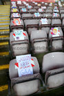 Artwork by pupils from county and city primary schools on spectators seats during the Connacht Senior Football Final between Galway and Mayo at the Pearse Stadium last Sunday. All the artwork is from schools which were attended by the Galway players when they started their education.
