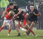 Connacht v Munster Guinness PRO14 game at the Sportsground.<br /> Connacht's Sean Masterson and Denis Buckley and Munster's