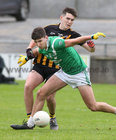 Moycullen v Mountbellew-Moylough Senior Football Championship final at Pearse Stadium.<br /> Neil Ó Maolcarthaigh, Moycullen and Barry McHugh, Mountbellew-Moylough
