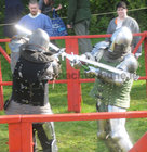 <br /> Sword fighting  at the International Medieval Combat Tournament at Claregalway Castle.
