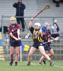 Presentation College, Athenry, v Loreto Secondary School, Kilkenny, Tesco All-Ireland Post Primary Junior A Camogie Final in Banagher.<br /> Megan Gannon, Presentation College, Athenry, and Amy Clifford, Loreto Secondary School, Kilkenny