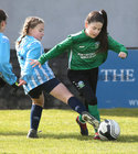 Salthill Devon B v Colemanstown United Under 12 Girls Division 1 Cup final at Eamonn Deacy Park.<br /> Shona Barrett, Colemanstown United, and Ellen Holland, Salthill Devon