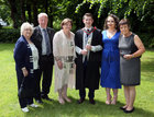 Dr. Joseph Carty, Kiltulla, Athenry, with his parents Tom and Mary, grandmother Carmel Carty, and Grace Carroll from Lackagh, and his aunt Geraldine (right) after he was conferred with the degrees of M.B. B.Ch. B.A.O., Honours, at NUI Galway