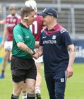 Galway v Carlow Leinster Senior Hurling Championship Round 1 game at the Pearse Stadium.<br /> Galway manager Michéal Donoghue meeting with referee Colm Lyons before the start of the game.