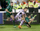 Connacht v Ulster Guinness PRO14 game at the Sportsground.<br /> Connacht's Colin Blade scoring his try ... tackled by Ulster's Johnny McPhillips