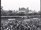 President John F Kennedy visited Galway in June 1963, five months before his assassination. <br /> <br /> He landed in a helicopter at the Sportsground in College Road where he was greeted by Mayor of Galway, Paddy Ryan. <br /> <br /> They proceeded by motorcade to Eyre Square where the President made a speech and was conferred with the freedom of the City. <br /> <br /> The motorcade then went through the town to Salthill where the President was taken by helicopter from the car park beside Seapoint to Limerick.<br /> <br /> The scene in Eyre Square, which was subsequently renamed Kennedy Park.