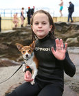 Kate O'Gorman from Knocknacarra with her dog Sandy after her Christmas Day swim at Blackrock.