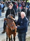 Gerard Costello and his son Evan from Seanafeistín at the Maam Cross Fair on Tuesday.