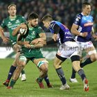Connacht v Benetton Guinness PRO14 game at the Sportsground.<br /> Connacht's Colby Fainga'a tackled by Benetton's Ian McKinley and Luca Sperandio