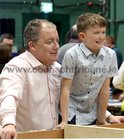 Galway West Fianna Fail candidate Ollie Crowe with his son Luke at the count in Galway Lawn Tennis Club.