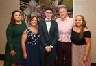 Player Robert Gill with his parents Lynda and Tom, and sisters Leah, home from Vancouver, left, and Aoife, at Oughterard GAA Victory Social in the Salthill Hotel.