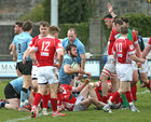Galwegians v Cashel Ulster Bank All Ireland League Division 2A game at Crowley Park.<br /> Matt Towey after scoring a try for Galwegians.