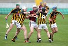 Galway v Kilkenny Under 20 Leinster Championship Hurling semi-final in Bord na Mona O'Connor Park, Tullamore.<br /> Galway's John Fleming and Kilkenny's Michael Carey and Mikey Butler