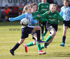 Salthill Devon B v Colemanstown United Under 12 Girls Division 1 Cup final at Eamonn Deacy Park. Clara Glynn, Salthill Devon, and Blaithin Keane and Lucy Roberts, Colemanstown FC