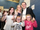 Fianna Fail Galway West candidate John Connolly pictured after his election with his wife Bernadette and their daughters Katie, Sadie and Lauren at the Westside count centre.
