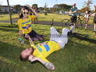 Stevo Timothy celebrates with girlfriend Sinead McGrath from Mervue after he successfully completed his Tour De Westside charity cycle at the weekend. Stevo, who has incomplete paraplegia after a motorbike accident in 2015, has raised over €55,000 through his GoFundMe page after he completed a 5k charity cycle on on the Westside running track.