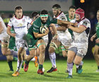 Connacht v Ulster Guinness PRO14 game at the Sportsground.<br /> Conacht's Colby Fainga'a and Ulster's Eric O'Sullivan