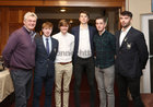 "Pictured at St Joseph's College ""The Bish"" Rowing Club dinner at Galway Rowing and Yachting Club were George Finnegan, Club President, with Irish International Oarsmen and club members Josh Russell, Eoin Finnegan, Matthew Gallagher, Ross Heaney and Brion O'Rourke."
