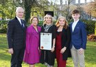 Sarah Furey from Craughwell who was conferred with the degree of Bachelor in Nursing, Honours, at NUI Galway, pictured with her parents Martin and Patricia, sister Hannah and brother James.