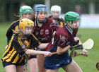 Presentation College, Athenry, v Loreto Secondary School, Kilkenny, Tesco All-Ireland Post Primary Junior A Camogie Final in Banagher.<br /> Sabrina Rabbitte and Emma Joyce, Presentation College, Athenry, and Emma Manogue and Rachel Brennan, Loreto Secondary School, Kilkenny