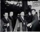 President John F Kennedy visited Galway in June 1963, five months before his assassination. <br /> <br /> He landed in a helicopter at the Sportsground in College Road where he was greeted by Mayor of Galway, Paddy Ryan. <br /> <br /> They proceeded by motorcade to Eyre Square where the President made a speech and was conferred with the freedom of the City. <br /> <br /> The motorcade then went through the town to Salthill where the President was taken by helicopter from the car park beside Seapoint to Limerick.<br /> <br /> The President with the Mayor of Galway and other councillors before his address at Eyre Square