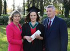 Aoife Carr from Oranmore pictured with her parents Mary Boyce and Tom Carr after she was conferred with the degree of B Sc, Honours, at NUI Galway.