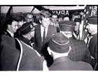 President John F Kennedy visited Galway in June 1963, five months before his assassination. <br /> <br /> He landed in a helicopter at the Sportsground in College Road where he was greeted by Mayor of Galway, Paddy Ryan. <br /> <br /> They proceeded by motorcade to Eyre Square where the President made a speech and was conferred with the freedom of the City. <br /> <br /> The motorcade then went through the town to Salthill where the President was taken by helicopter from the car park beside Seapoint to Limerick.<br /> <br /> The President was met by Galway veterans of the US Army.