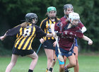 Presentation College, Athenry, v Loreto Secondary School, Kilkenny, Tesco All-Ireland Post Primary Junior A Camogie Final in Banagher.<br /> Caoimhe Kelly and Keisha Coleman, Presentation College, Athenry, and Rose Kelly and Moya O'Brien, Loreto Secondary School, Kilkenny