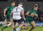 Connacht v Cardiff Blues Guinness PRO14 game at the Sportsground.<br /> Connacht's Kyle Godwin and Rhys Gill, Cardiff Blues