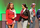 Aoife Davitt and Sibéail Faherty taking part in the Salerno Secondary School musical 'Back to the 80s' at the Town Hall Theatre.
