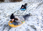Cliona and Conor McLoughlin from Salthill having fun in the snow at Salthill Park