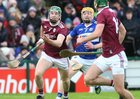 Galway v Laois Allianz Hurling League Division 1B Round 1 game at the Pearse Stadium.<br /> Cathal Mannion, Galway, and Padraig Delaney, Laois