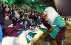 Eddie the Eagle with young Connacht supporters in the Clan Stand at the Guinness PRO12 game against Munster at the Sportsground.