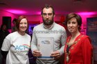 Connacht Rugby's John Muldoon with Rachel Nolan, volunteer, and Cllr Hildegarde Naughton, Mayor of Galway City, at the launch of ACT for Meningitis at the House Hotel.