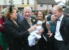 Kathlee Watkins and her husband Gay Byrne with their six day old grandson Cian, his parents Suzy and Ronan O'Byrne, at the marriage of Crona and Philip Carney at Spiddal Church.  28 September 2004