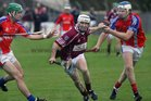 Clarinbridge's, Paul Coen,<br />  and<br />  St. Thomas,  David Burke and Robert Murray,<br />  during the Senior Hurling Championship at Athenry.<br />