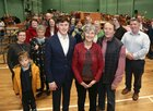 Galway West Independent candidate Catherine Connolly with her husband Brian McEnery and their son Stephen and supporters after she was elected at the count centre in Galway Lawn Tennis Club.