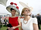 Sieglinde Mullers from Moycullen, right, winner of the Best Hat competition in the Anthony Ryan's Best Dressed Lady at Ladys Day at the Galway Races. Also in photo is Suzanne McGarry, Sligo, winner of the Best Dressed Lady. Photo: Iain McDonald.