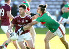 Galway v Mayo 2020 Connacht Senior Football Final at Pearse Stadium. <br /> Galway's Ian Burke and Mayo's Oisín Mullin